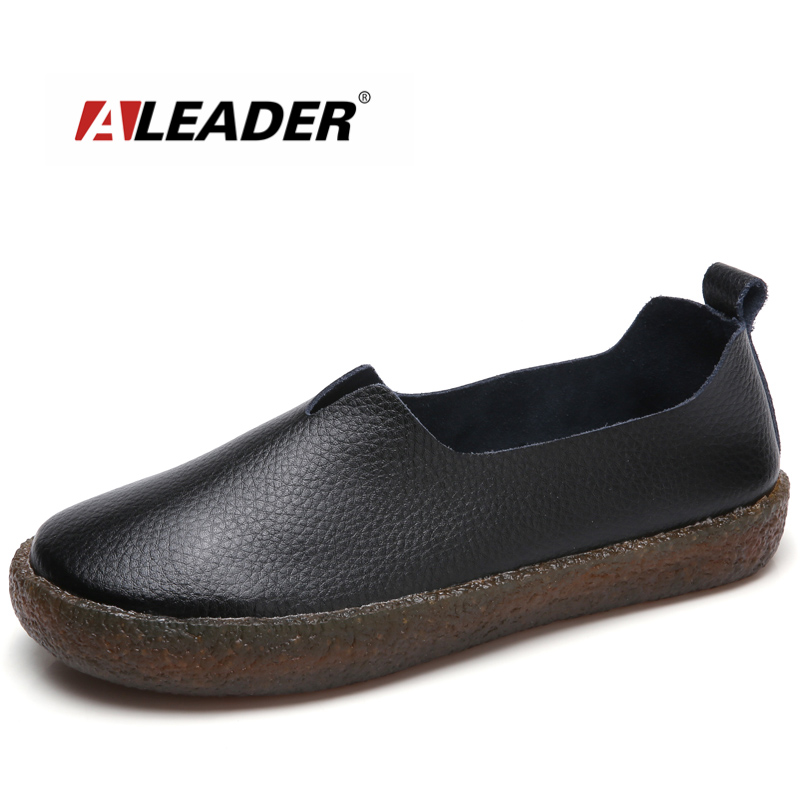 ALEADER New Fashion Womens Shoes Wide Women Casual Ballet Flats Slip On Leahter Shoes Ladies Comfortable Walking Loafers Large 2017 summer new fashion sexy lace ladies flats shoes womens pointed toe shallow flats shoes black slip on casual loafers t033109