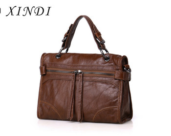 XINDI Genuine Leather Crossbody Bags For Women Handbags Casual Soft Shoulder Bag Famous Brands Ladies Tassel Messenger Bag