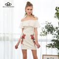 Bella Philosophy spring summer fashion sexy flowers embroidery slash neck off shoulder ruffles bodycon dress white black