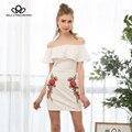 Bella philosophy primavera verano moda sexy flores bordado de slash cuello hombro ruffles bodycon dress blanco negro