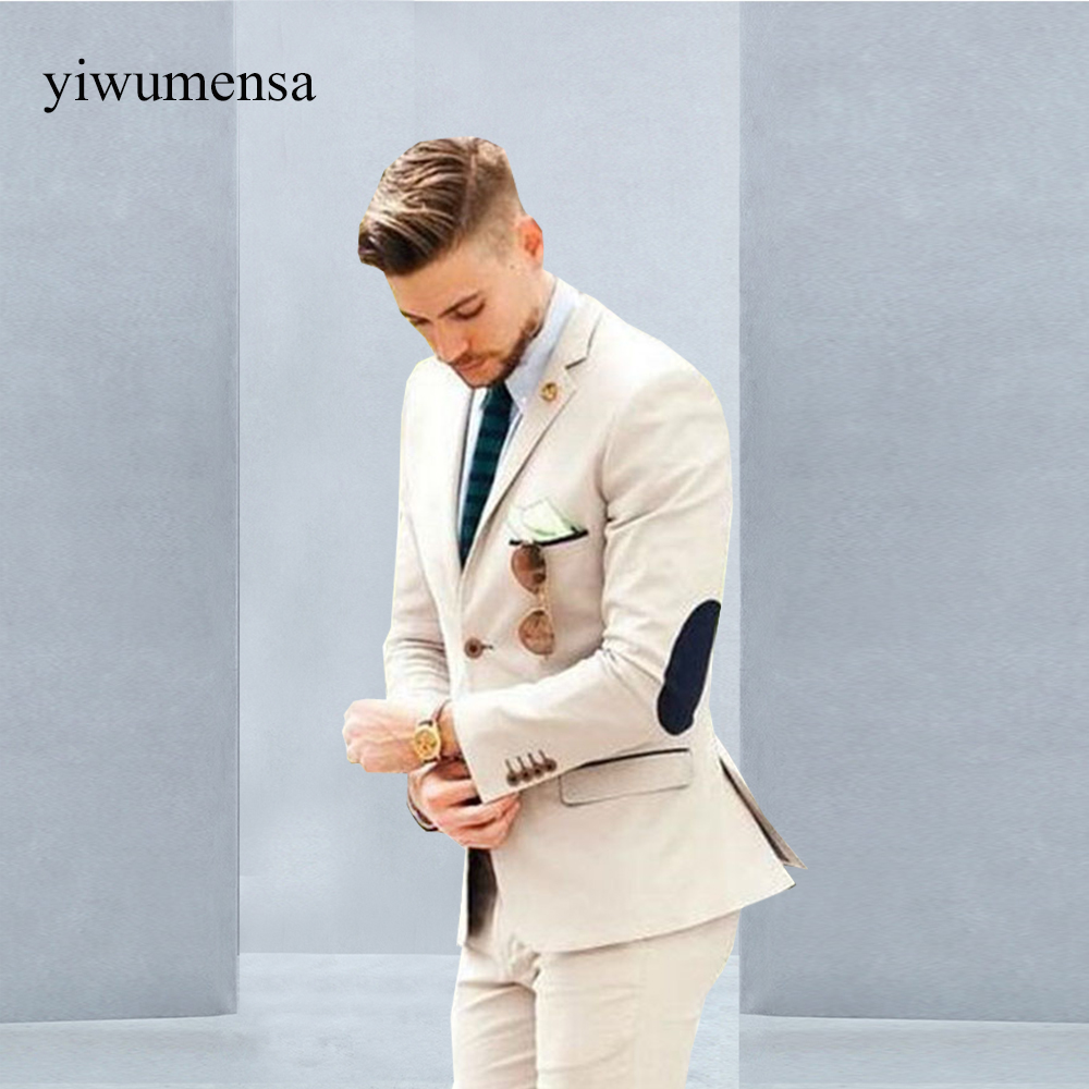 YWMS 360 Mens Suits Set Beige Groom Tuxedos (Jacket+Pants) Groomsmen ...