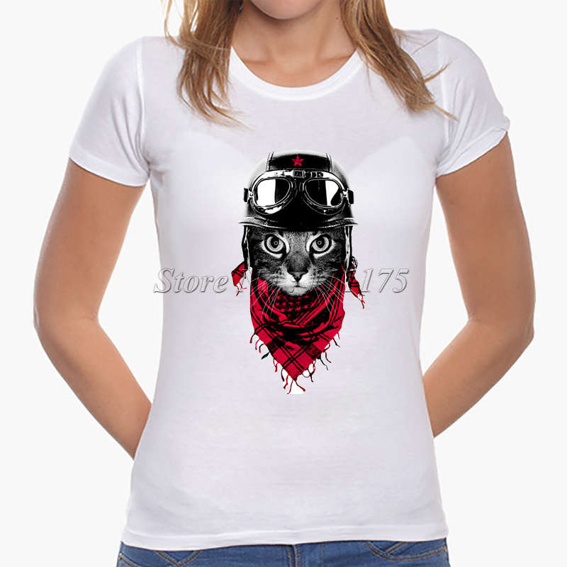 2017 latest fashion women cute cat pinted t shirt cool cat for T shirt design 2017