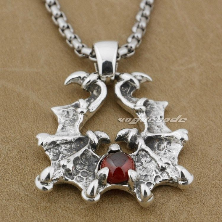 925 Sterling Silver Claw Wing Red CZ Stone Mens Biker Pendant 9H011A(Necklace 24inch) solid 925 sterling silver claw skull red cz eyes mens biker pendant 8x017 necklace 24inch