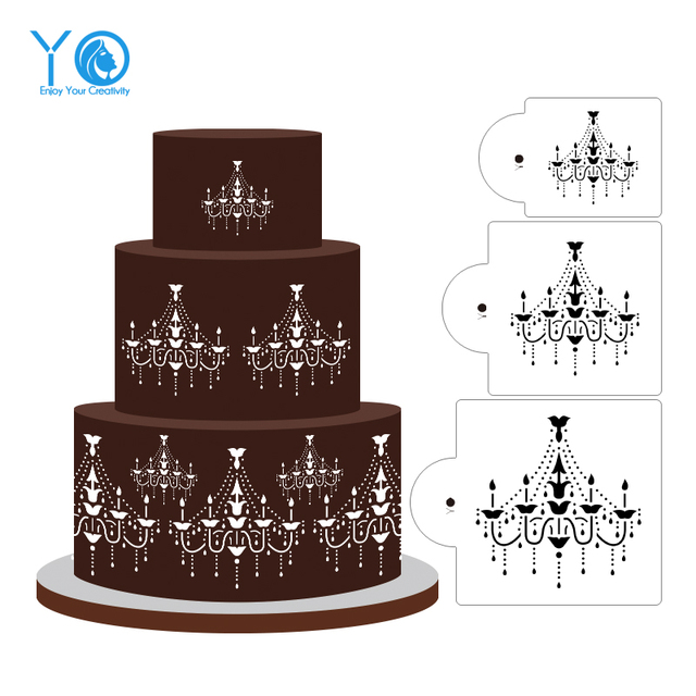 3pcs Lot Chandelier Cake Stencil Sieve Sheet Crystal Design Stencils Decorating Tools Pendant Light