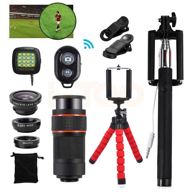 15in1 Phone Camera Lens Kit 8x Zoom Telephoto Lentes  For iPhone Huawei Xiaomi redmi Microscope Fisheye Wide Angle Macro Lenses