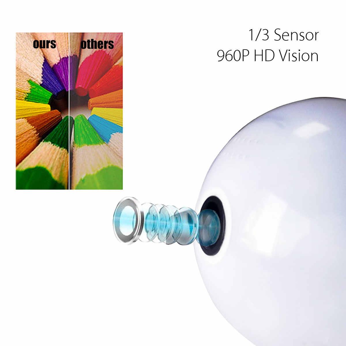 SAFURANCE 1080P HD Mini Security IP Camera 360 degree Panoramic WIFI Camera Cam Light Bulb Security Lamp 128G