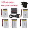1400 mAh 3.7 V LiPo Batería + Euro Plug Cargador de red para SYMA X5SC X5SW batería Lipo RC Drone Quadcopter y 5en1 Cable