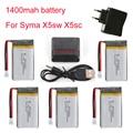 1400 mAh 3.7 V LiPo Bateria + Euro Plug AC Carregador para SYMA X5SC X5SW bateria RC Drone Quadcopter Lipo Bateria e Cabo 5in1
