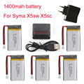 1400mAh 3.7V LiPo Battery + Euro Plug AC Charger for SYMA X5SC X5SW battery RC Drone Quadcopter Lipo Battery and 5in1 Cable