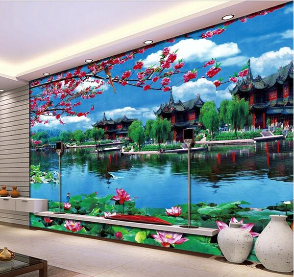 3d Room Wallpaper Custom Mural Non Woven Wall Sticker 3d Garden Pavilion  Floor Lotus Lake Painting Photo 3d Wall Mural Wallpaper