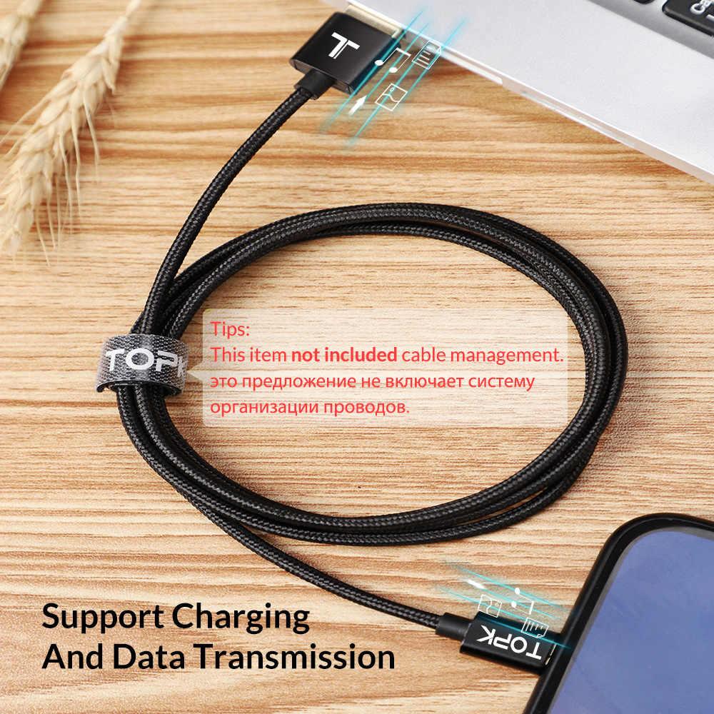 TOPK оригинальный USB Type-C кабель, Мягкий Нейлоновый плетеный кабель для синхронизации данных, зарядный кабель Type-C для Samsung Galaxy S9 Huawei P20 lite USB C