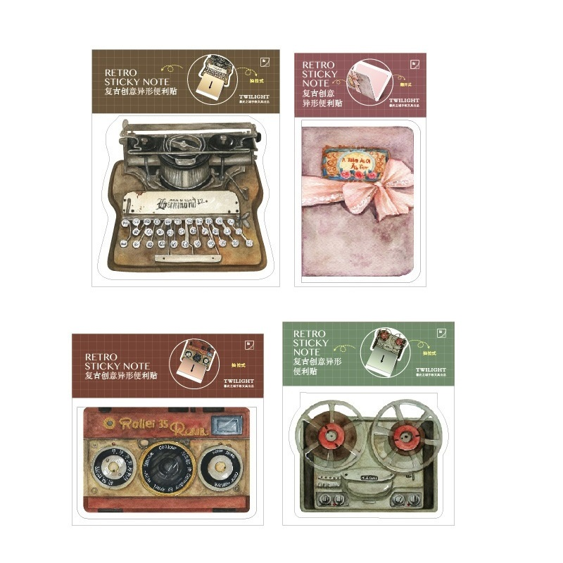 24 Pcs/Lot Vintage Color Sticky Notes Retro Typewriter Camera Memo Pad Post Bookmark Stationery Office School Supplies F353