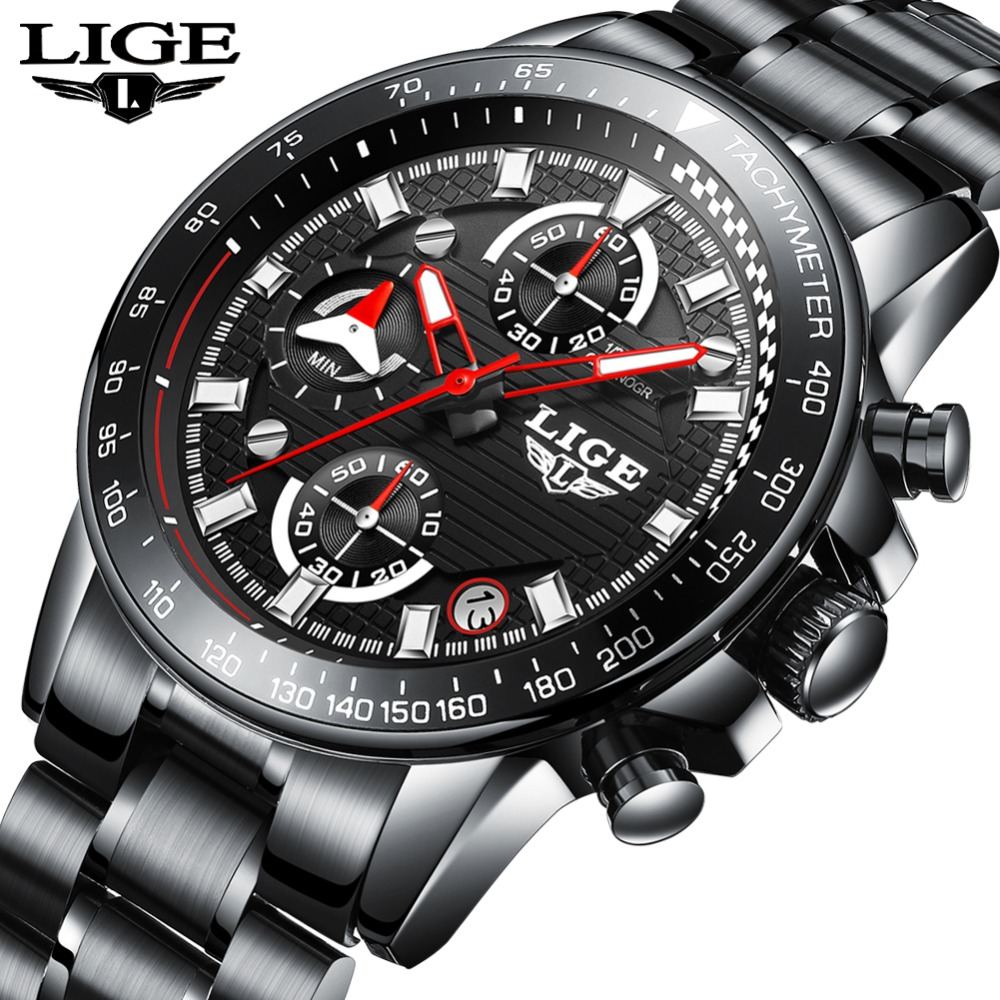 LIGE Mens Watches Top Brand Luxury Fashion Business Watch Men Sports Stainless Steel Waterproof Quartz Watch Relogio Masculino a500g mens watches top brand luxury tvg brand men business casual watch stainless steel strap quartz watch fashion sports watche