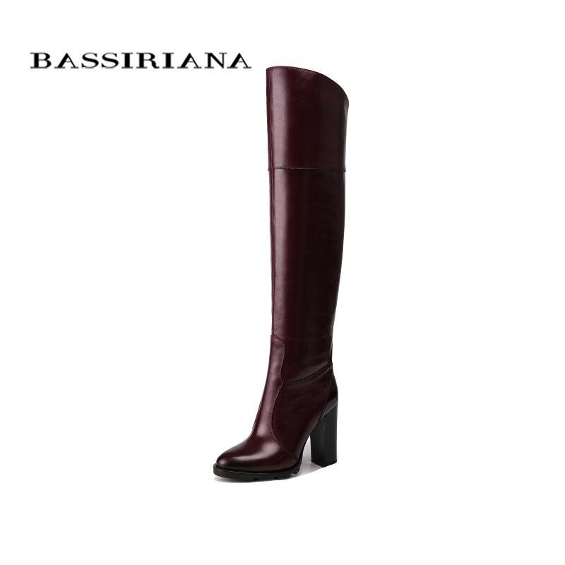 BASSIRIANA por encima de la rodilla de cuero genuino de tacón alto botas de invierno de las mujeres zapatos de mujer Zapatos negro vino rojo cremallera tamaño 35-40