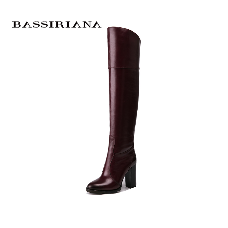 BASSIRIANA Over the knee Genuine leather high heels boots women winter shoes woman Black wine red