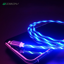 цена LED Glow Flowing Data USB Bright Charger Type C/Micro USB/8 Pin Charging Cable For iPhone Xs Samsung S10 Xiaomi Charge Wire Cord