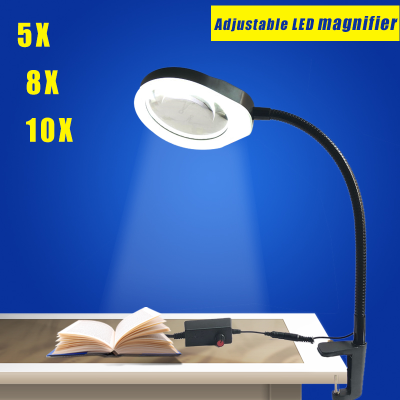 Table Magnifier 5X 125MM Clip on Desk Magnifying Glass with LED Lamp Lupa Loupe for Reading