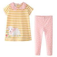 Springen meter Applique Flamingo baby Kleidung sets für 2 7T mädchen kleidung sommer baumwolle streifen 2 stücke set heißer verkauf anzüge mädchen-in Kleidung-Sets aus Mutter und Kind bei