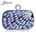 Small Purse Day Clutches Evening Bags Finger Ring Diamonds Beaded Flower Design Evening  Bag One Side Mixed Wedding Party Bag