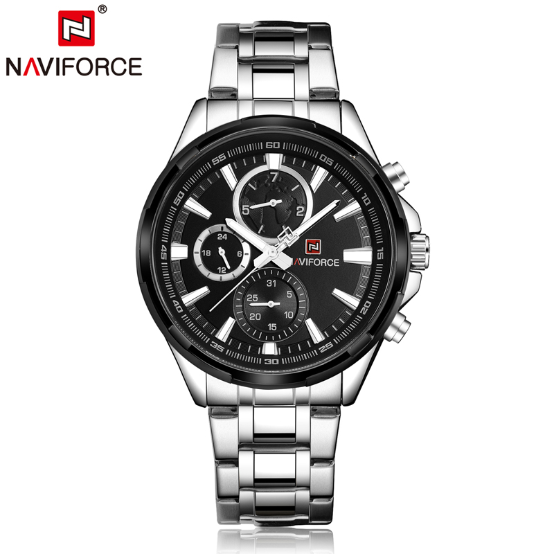 Naviforce Men Luxury Watch Stainless Steel Mens Quartz Watches Working Small Dial Week Day 24 hour Business Wristwatch 9089