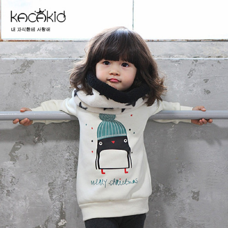 Kacakid Autumn winter children clothing kids cute penguins baby boy girls velvet thickening sweater baby cotton shirt soft coat