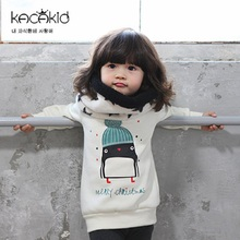 Kacakid Autumn winter children Tshirt kids cute penguins Tops baby girls velvet thickening sweater baby cotton