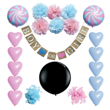 Gender Reveal Balloon Party Pack Baby Shower Decorations Boy or Girl Banner and Balloons Paper Flower