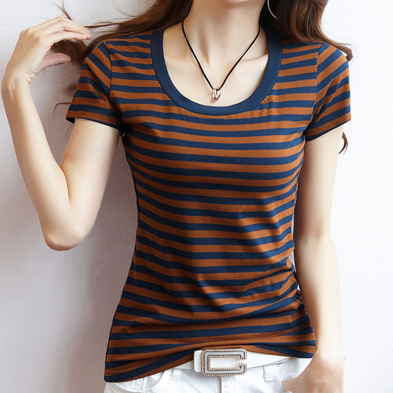 S XXXL New Women 39 s T Shirt Summer 2019 Fashion Casual All match Short Sleeve Slim Basic Striped T shirt Tops in T Shirts from Women 39 s Clothing
