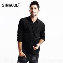 SIMWOOD Brand Clothing 2016 Новая Осень Рубашки Мужчины С Длинным Рукавом Мода Повседневная Хлопок футболки высокого качества CS1554