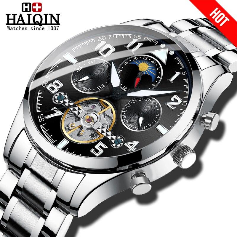 HAIQIN Mens relógios Mecânicos top marca de relógios de luxo homens Turbilhão relógio de pulso Militar dos homens de Negócios de Moda 2019 reloj hombres