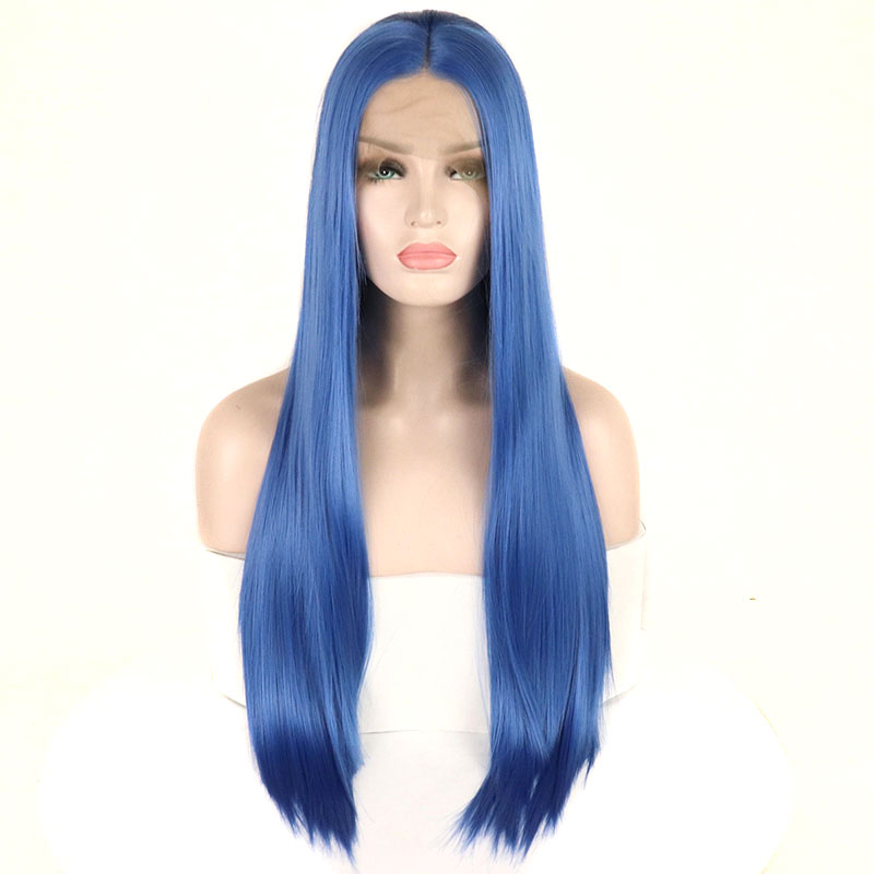 Image 2 - Bombshell Straight Synthetic Lace Front Wigs Blue Color Heat Resistant Fiber Hair Natural Hairline For White Women-in Synthetic Lace Wigs from Hair Extensions & Wigs