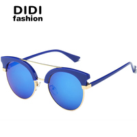 DIDI 2017 Half Frame Reflective Sunglasses Women Men Cat Eye Double Bridge Small Circle Lens Brand Goggles Blue Pink Oculos W664