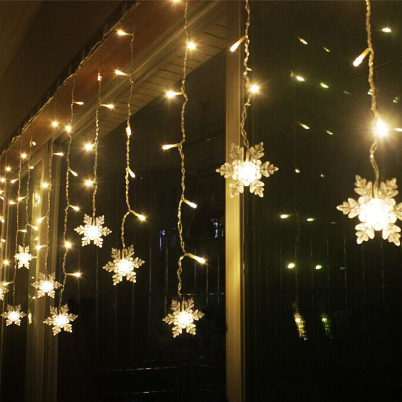 Xmas Garland LED Curtain Snowflake String Light 220V 3.5m 96Leds Indoor Drop LED Party Garden Stage Outdoor Decorative Light