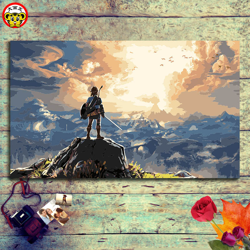 Painting By Numbers Art Paint By Number Wilderness  Drawing Coloring On Canvas With  The Legend Of Zelda: Breath Of The Wild