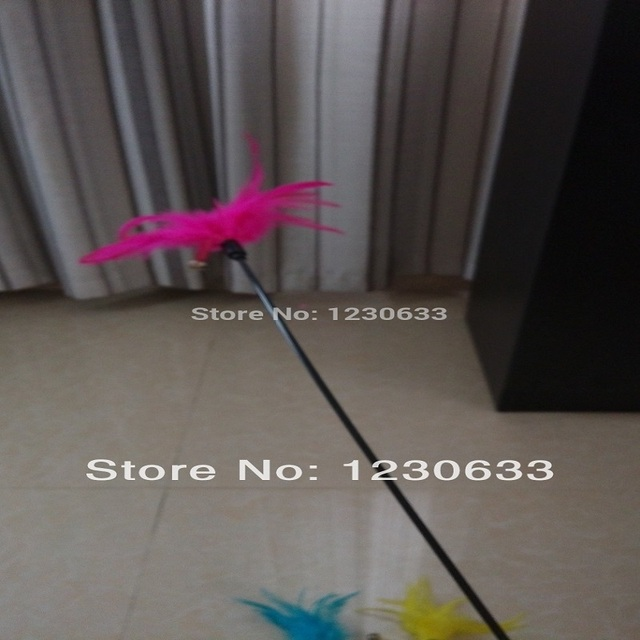 New Premium Cat Colorful Feather Stick Favorite Funny Cat Stick Toy