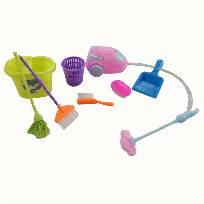 9 Items /Set Dolls Cleaning Tools Household Kit Doll Accessories For Barbie Doll Girl's Best Gift Kid Play House Toys christmas gift present play toy doll house dining room furniture for 1 6 bjd simba lica monster high for barbie dolls house