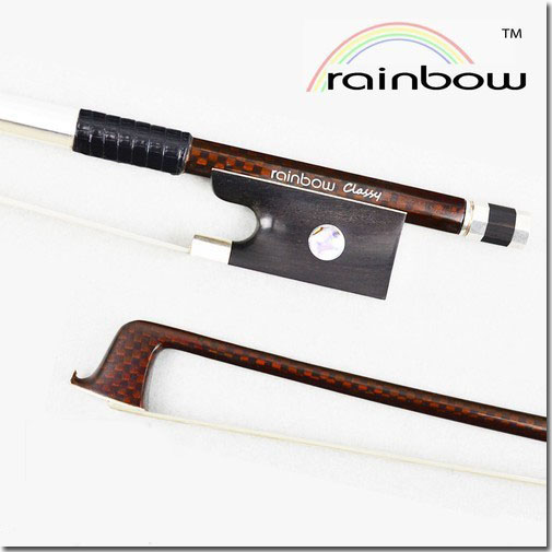 FREE CASE Light 4/4 Size Master Rainbow Classy VIOLIN BOW Woven Carbon Fiber Stick Durable Straight Strong Violin Accessories