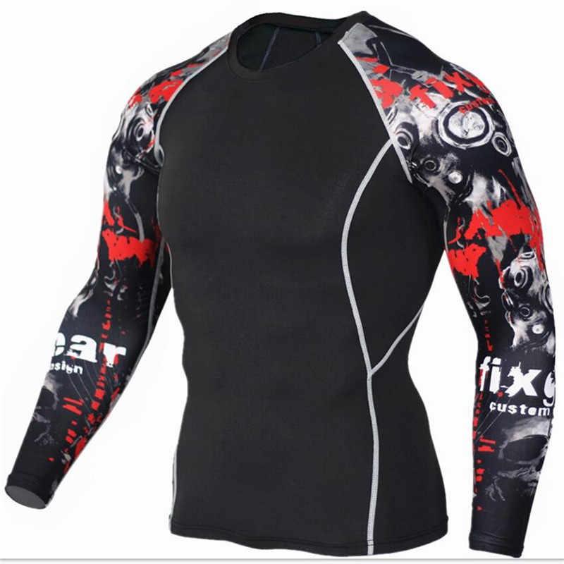 Тренажерные залы Фитнес сжатия наборы футболка Для мужчин 3D печатных ММА Crossfit спортивная рубашка Леггинсы плотный нижний слой Футболки-топы одежда