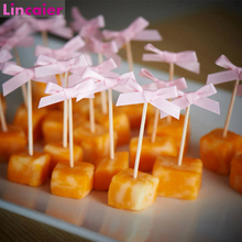 20 pçs bowknot cupcake toppers decorações da festa de aniversário crianças adulto bebê 1st aniversário menino menina suprimentos babyshower gênero revelar