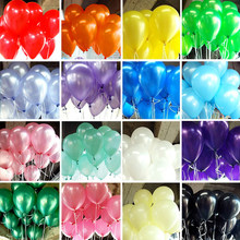 10pcs/lot Birthday Balloons 1.5g 10inch Latex Balloons Gold Red Pink Blue Pearl Wedding Party Balloon Ball Kids Toys Air Ballons(China)