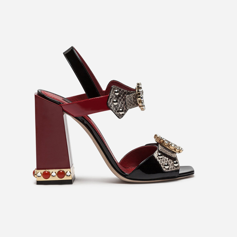 Woman Pumps Square Toe Woman Shoes Buckle Design Chic Lady Wedding Party Shoes Crystal Embellished Snake Pattern Leather Shoes цена 2017