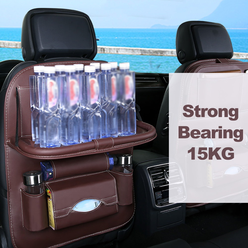 Car Seat Back Bag Folding Table Organizer Pad Drink Chair Storage Pocket Box Travel Stowing Tidying Car Styling Accessories