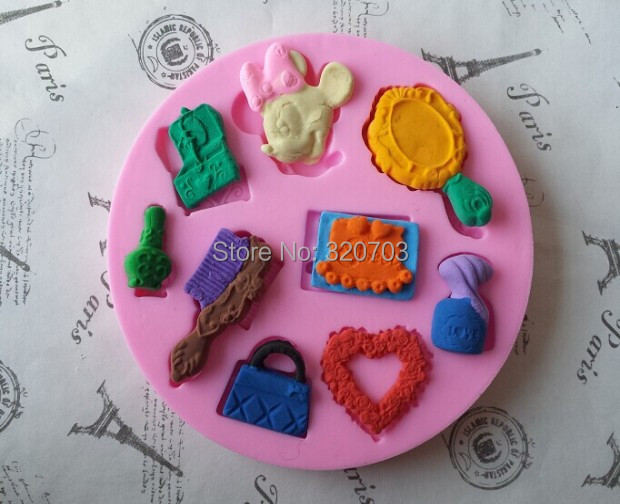 1PCS Food Grade Silicone New Design Love/ Bag/ Mirror/Comb/Mic Mouse Shape Silicone Cake Fondant Mold G012