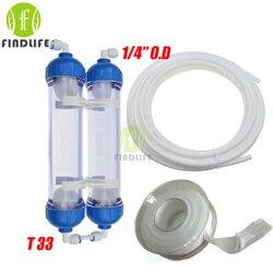 Фильтр для воды 2 шт. T33 корпус картриджа DIY T33 оболочка фильтр-бутылка 4 шт. фитинги очиститель воды для системы обратного осмоса