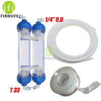 WATER FILTER 2PCS T33 Cartridge Housing DIY T33 Shell Filter Bottle 4pcs Fittings Water Purifier For