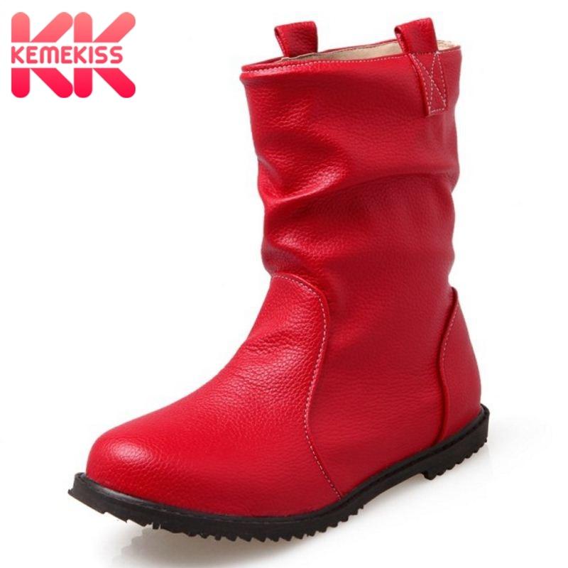 Kemekiss Short Boots Classic Round-Toe Female Fashion Women 34-52 Mid-Calf 4-Colors Footwear
