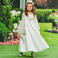 Dressv Flower Girl Dress Ivory A Line Scoop Neck Long Sleeves Ankle Length Beading Lace Lovely
