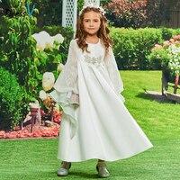 Dressv Flower Girl Dress Ivory A Line Scoop Neck Long Sleeves Ankle Length Beading Lace Lovely Custom Princess Flower Girl Dress