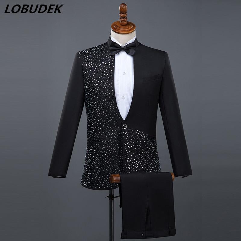 (Jacket+Pants) Formal Male Suits Black White Shining Diamond Suit 2 Piece Sets Host Singer Dancer Master For Wedding Costumes