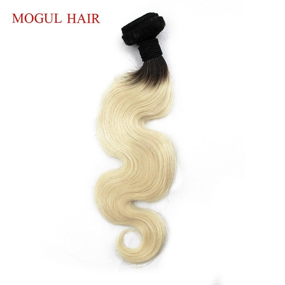 MOGUL волос 1 Комплект T 1B 613 темно-корень Отбеливатель Блондинка волос Ombre бразильский переплетения человеческих волос Комплект s 12-28 дюймов